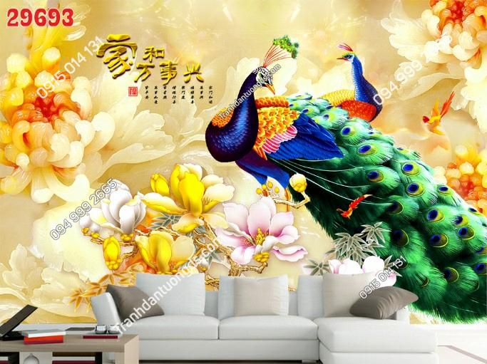 Tranh dán tường đôi chim công và hoa dán phòng khách 29693