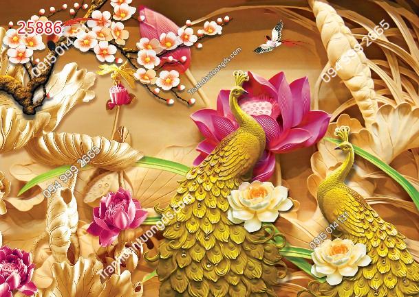 Tranh dán tường đôi chim công vàng 25886