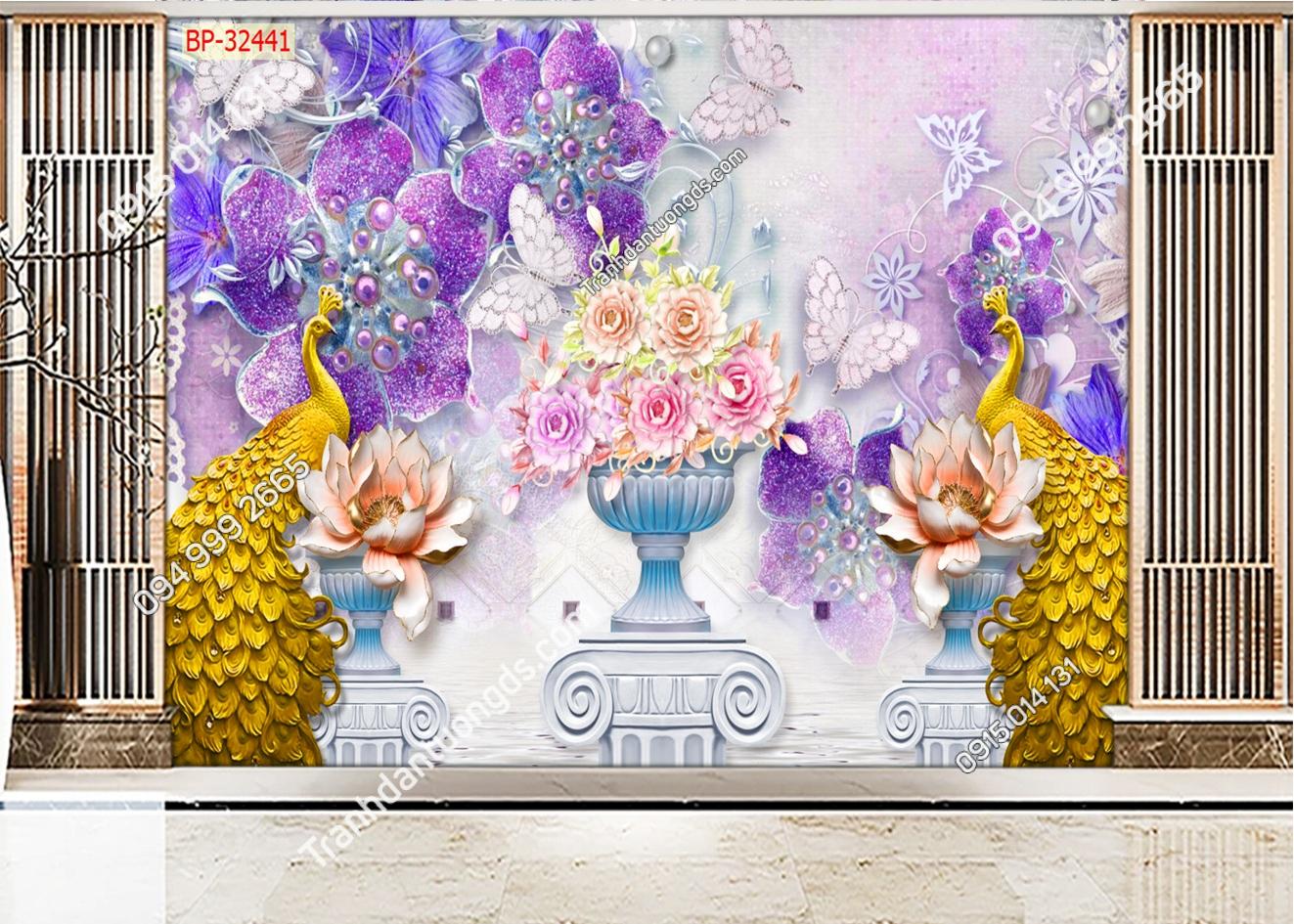 Tranh dán tường đôi chim công vàng 32441