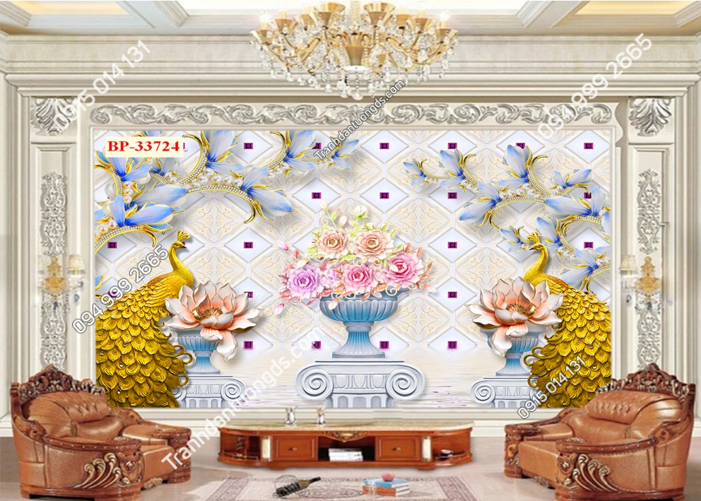 Tranh dán tường đôi chim công vàng 33724