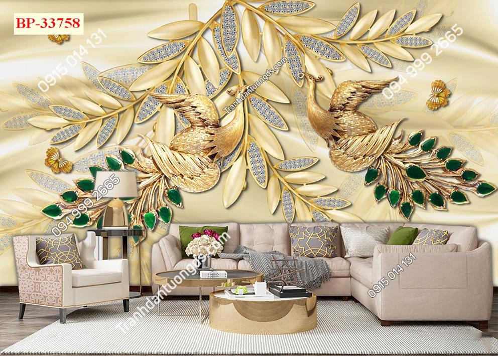Tranh dán tường đôi chim công vàng 33758