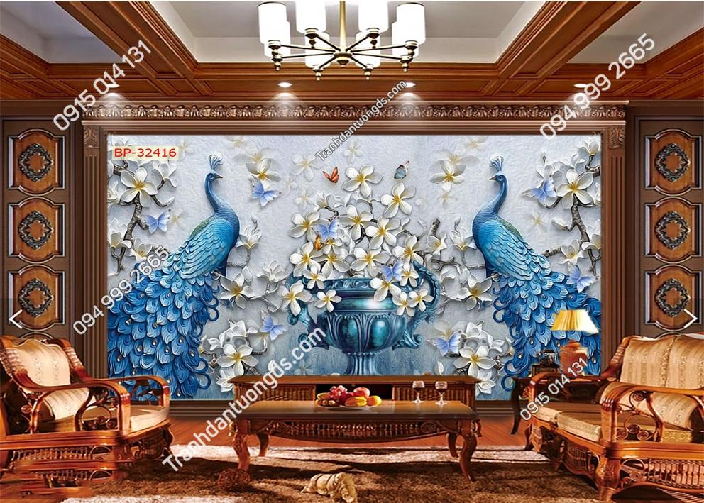Tranh dán tường đôi chim công xanh 32416