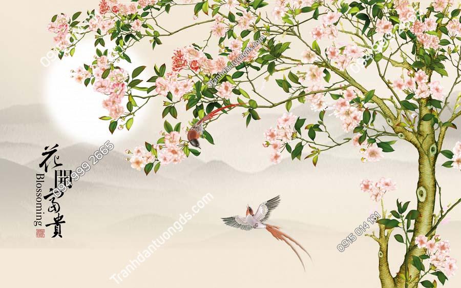 Tranh dán tường đôi chim uyên ương HHD409
