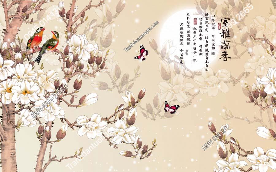 Tranh dán tường đôi chim uyên ương và bướm HHD410