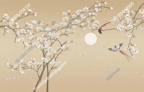 Tranh dán tường đôi chim uyên ương và hoa HHD406