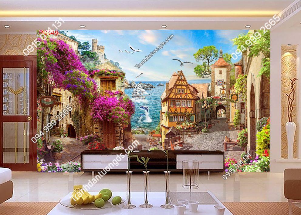 Tranh dán tường hẻm hoa châu Âu 30349