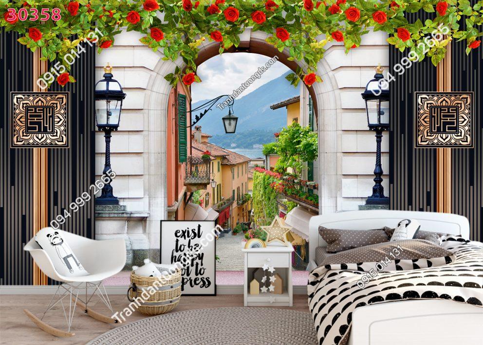 Tranh dán tường hẻm hoa châu Âu 30358