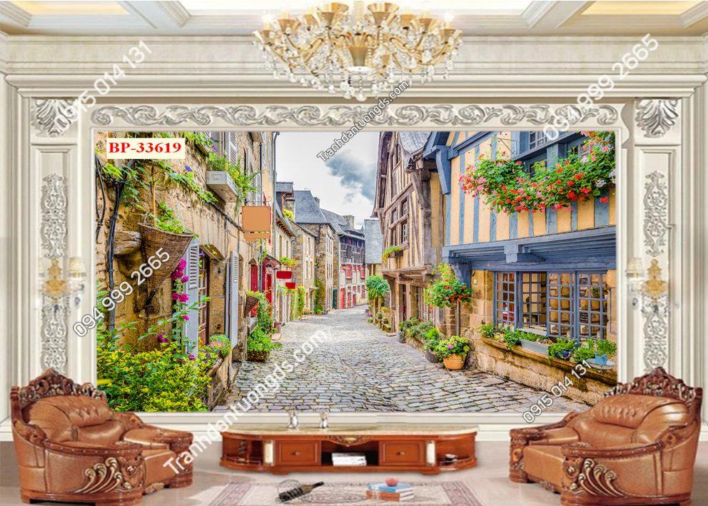 Tranh dán tường hẻm hoa châu Âu 33619