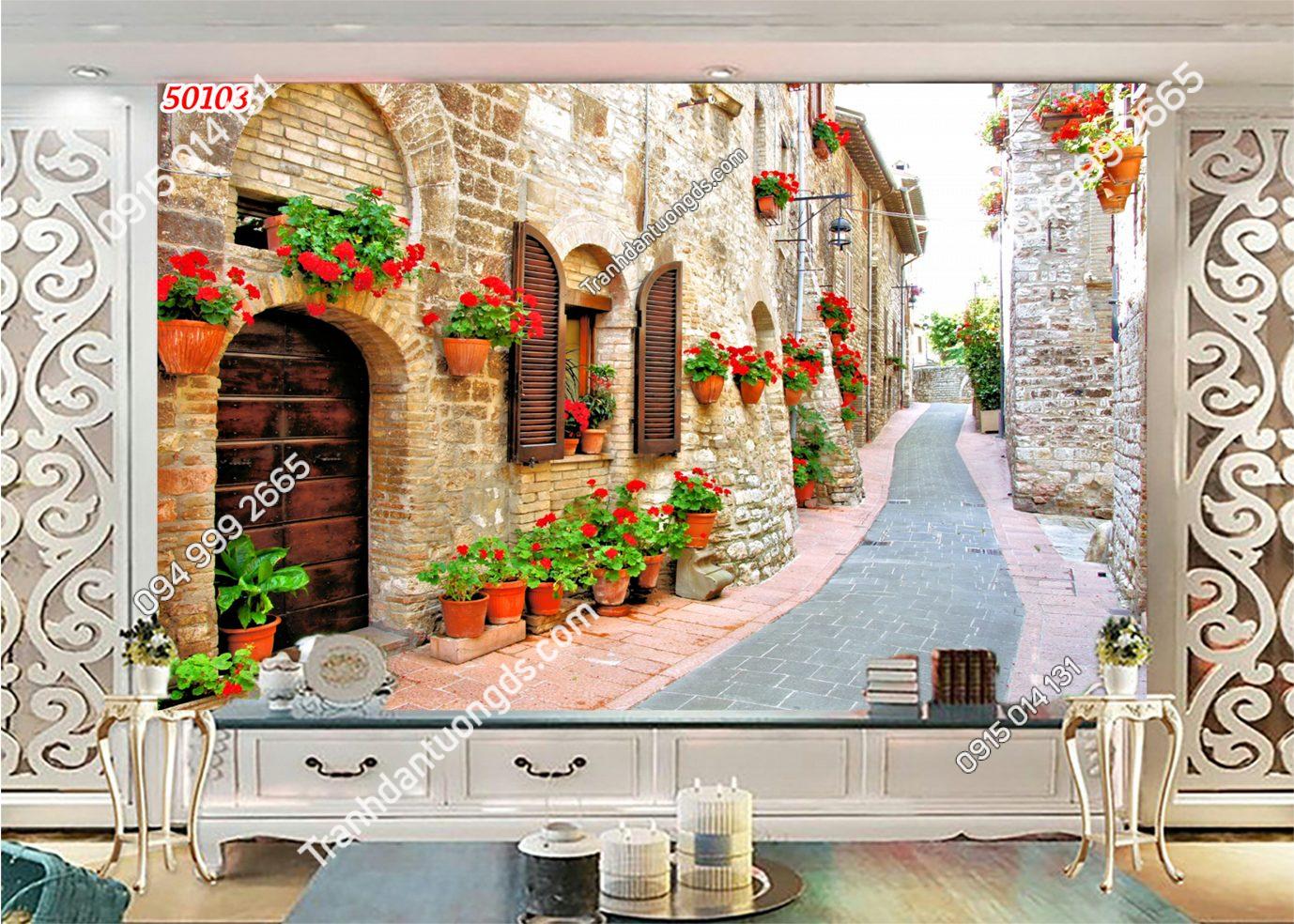 Tranh dán tường hẻm hoa châu Âu 50103