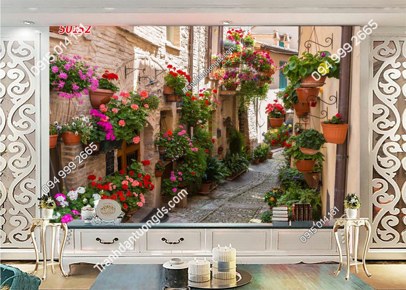 Tranh dán tường hẻm hoa châu Âu 50152