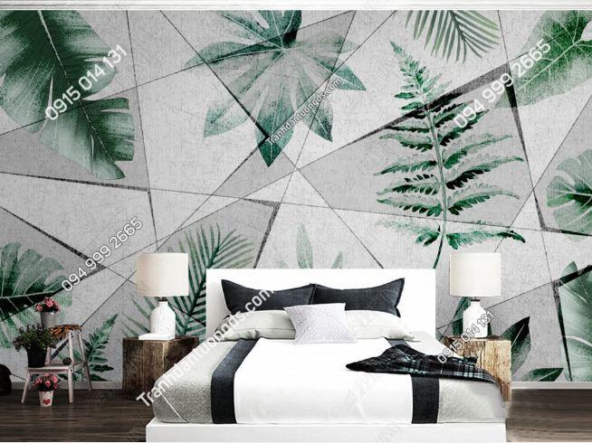Tranh dán tường hiện đại kiểu hình học lá cây 20207804