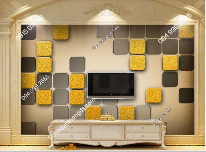 Tranh dán tường hiện đại kiểu hình học ô vuông vàng 17922298