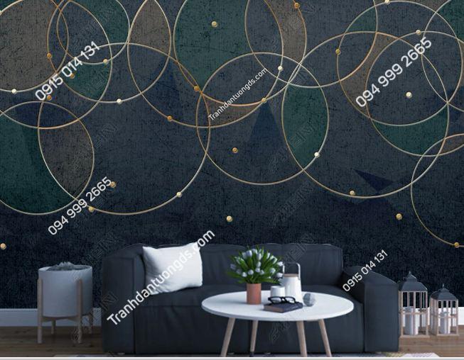 Tranh dán tường hiện đại kiểu hình học tròn 19190016
