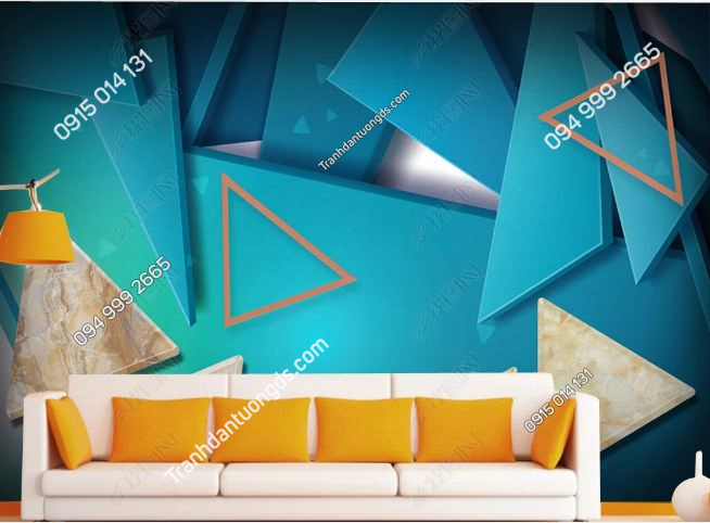 Tranh dán tường hiện đại kiểu hình học xanh dương 17922203