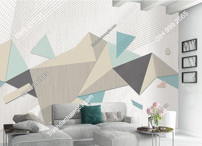 Tranh dán tường hình học tam giác xanh trắng 19073849