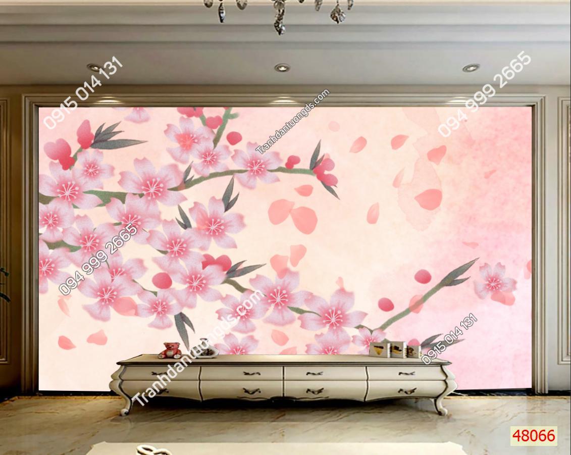 Tranh dán tường hoa đào 48066 DEMO