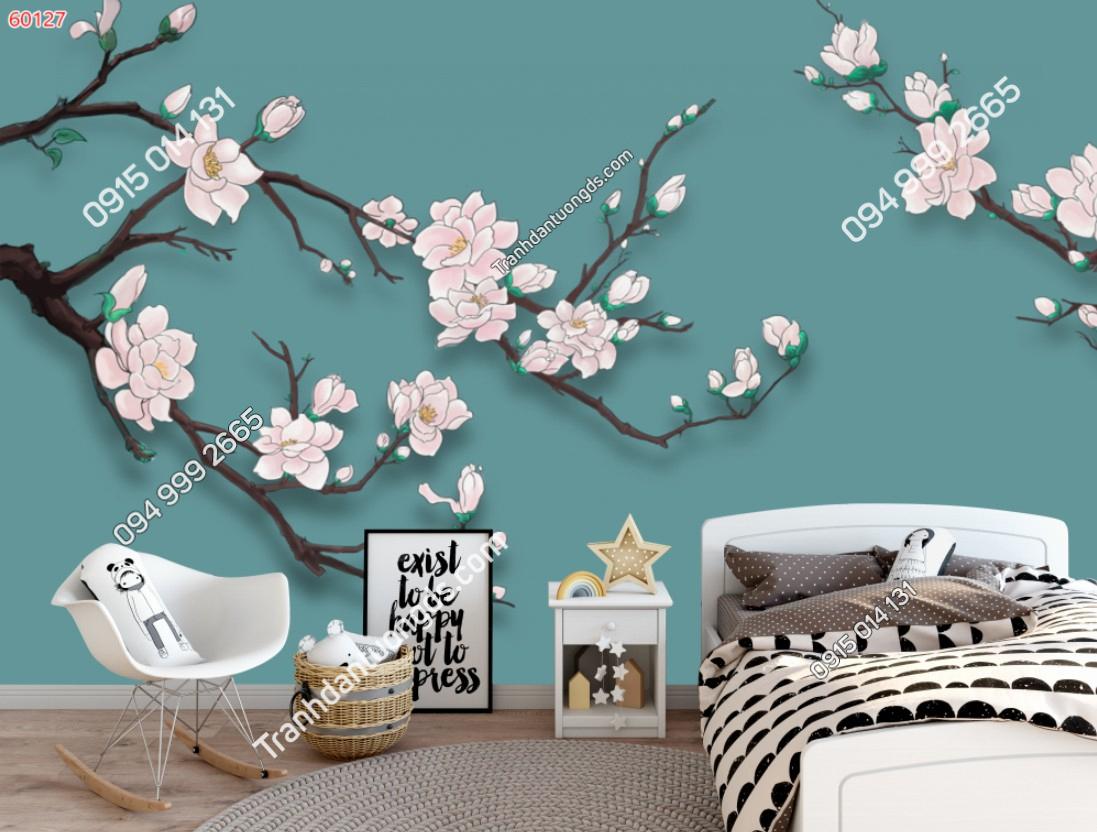 Tranh dán tường hoa đào nền xanh 60127