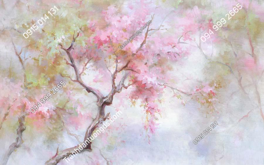 Tranh dán tường hoa kiểu tranh vẽ HHD264