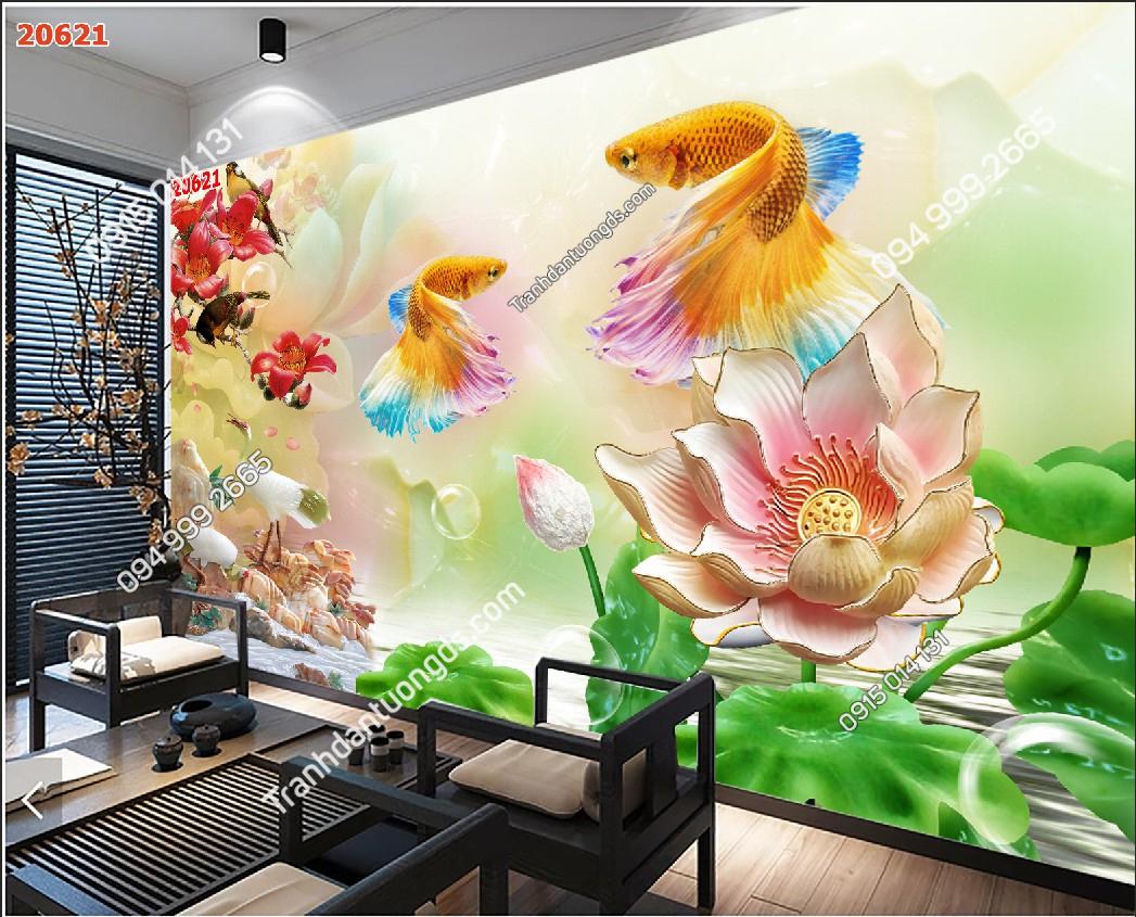 Tranh dán tường hoa sen cá chép - 20621