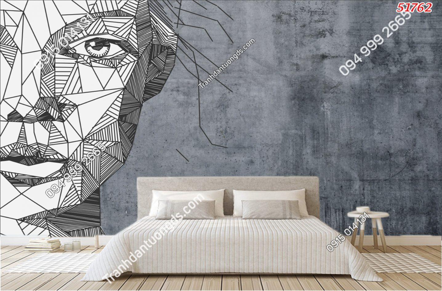 Tranh dán tường họa tiết mặt người trìu tượng 51762