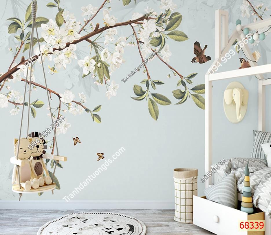 Tranh dán tường hoa và bướm 68339 demo