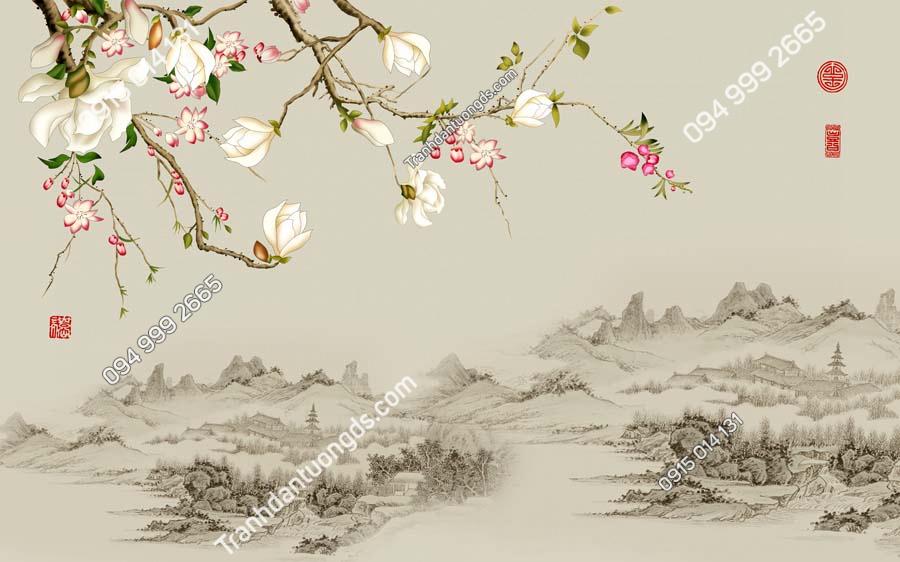 Tranh dán tường hoa và cảnh thủy mặc HHD230