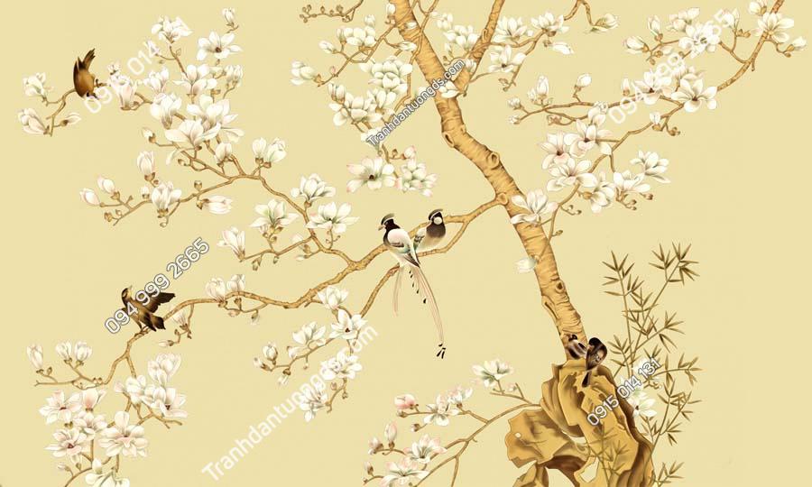 Tranh dán tường hoa và chim HHD408