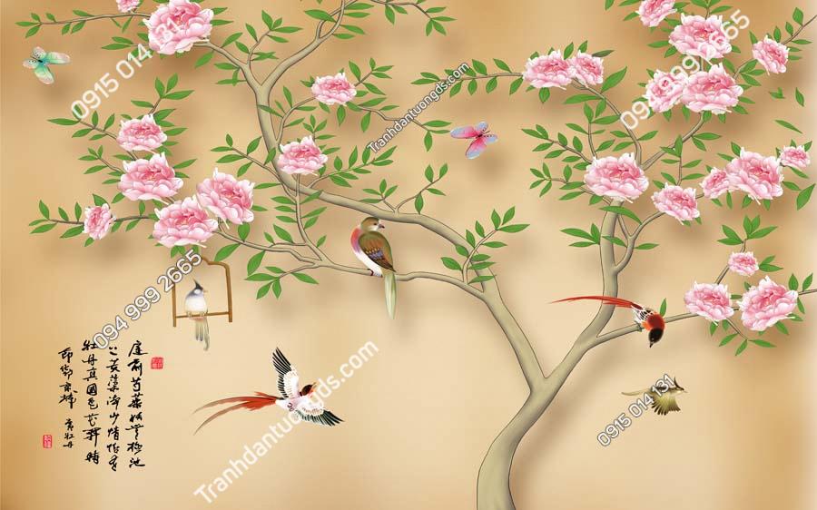 Tranh dán tường hoa và chim HHD411