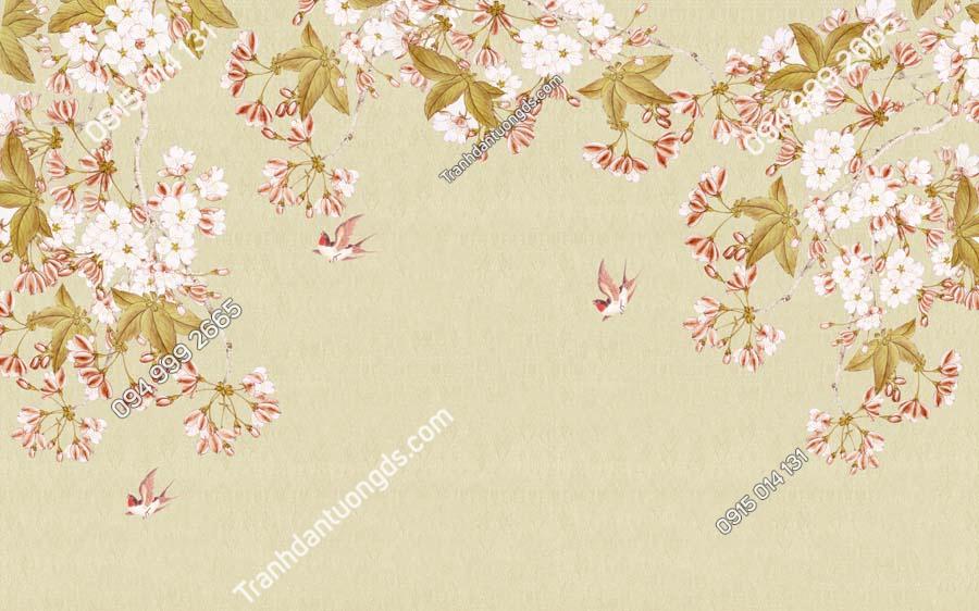 Tranh dán tường hoa và chim HHD611