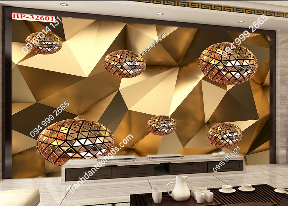 Tranh dán tường khối đa giác hiện đại 32601