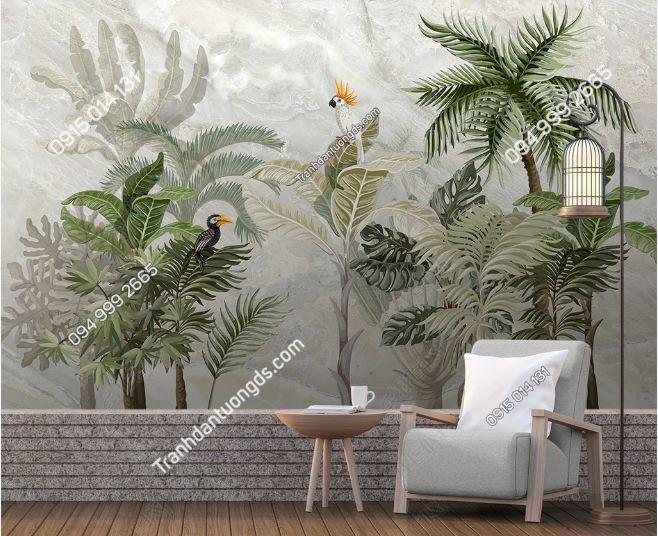 Tranh dán tường lá cây nhiệt đới DS _19289389
