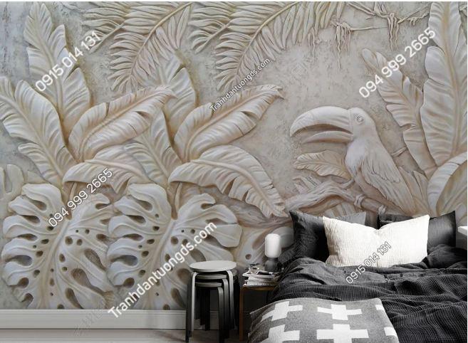 Tranh dán tường lá cây nhiệt đới điêu khắc DS_17045409
