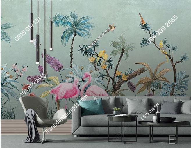 Tranh dán tường lá cây tropical hiện đại DS_18880153