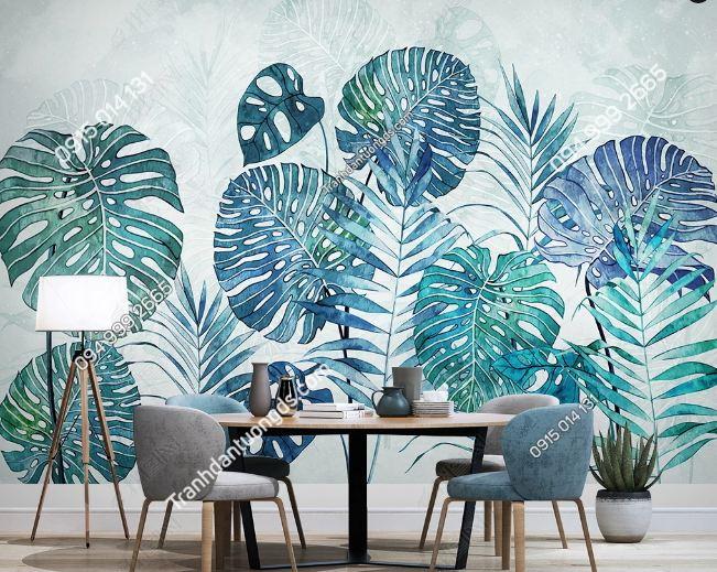 Tranh dán tường lá cây tropical hiện đại DS_24255207