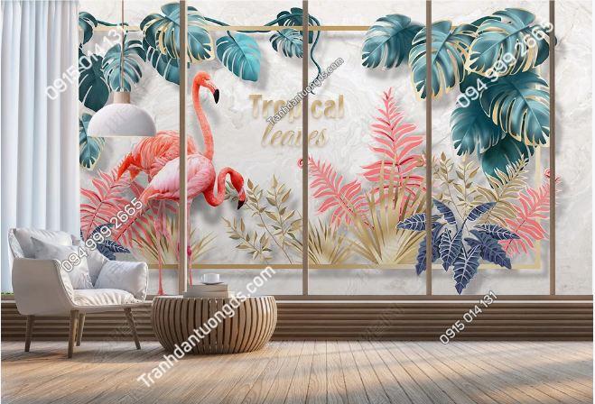 Tranh dán tường lá cây tropical và hồng hạc DS_19206159