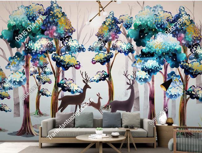 Tranh dán tường lá cây tropical và huơu DS_23101734