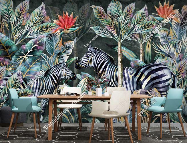 Tranh dán tường lá cây tropical và ngựa vằn DS_22339547
