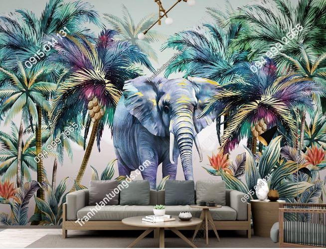Tranh dán tường lá cây tropical và voi DS_23612085