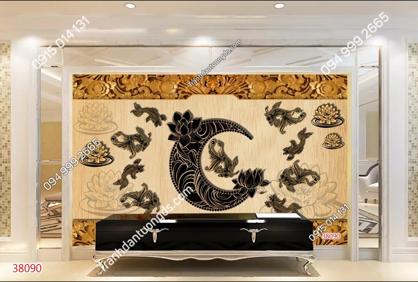 Tranh dán tường lý ngư vọng nguyệt phong cách điêu khắc gỗ 38090~1