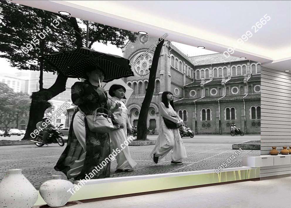 Tranh dán tường phố Hà Nội xưa-HNX2