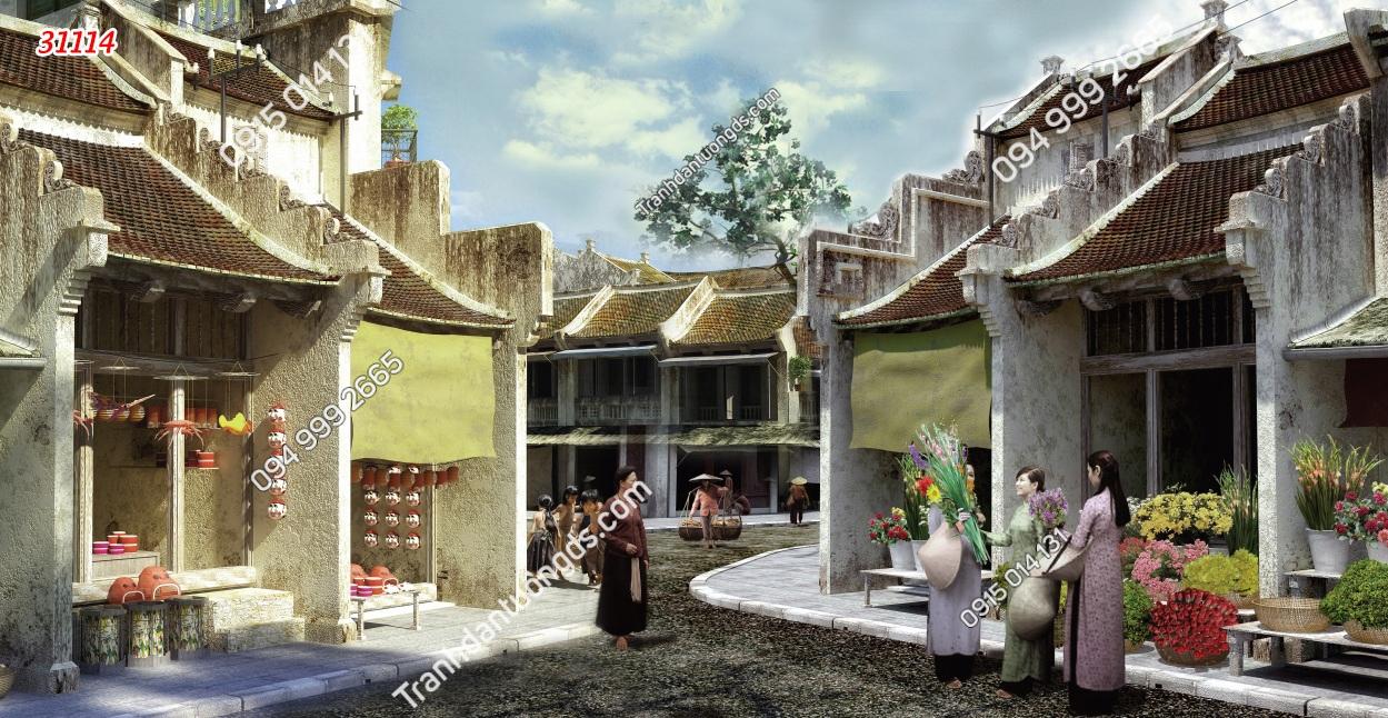 Tranh dán tường phố chợ Hà Nội xưa 31114
