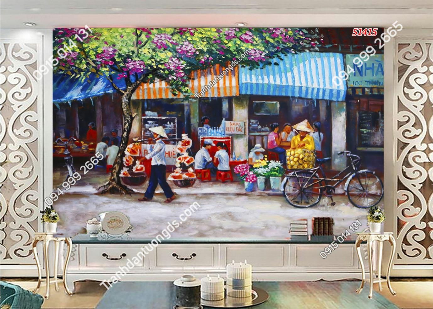Tranh dán tường phố chợ Hà Nội xưa kiểu tranh vẽ 51415
