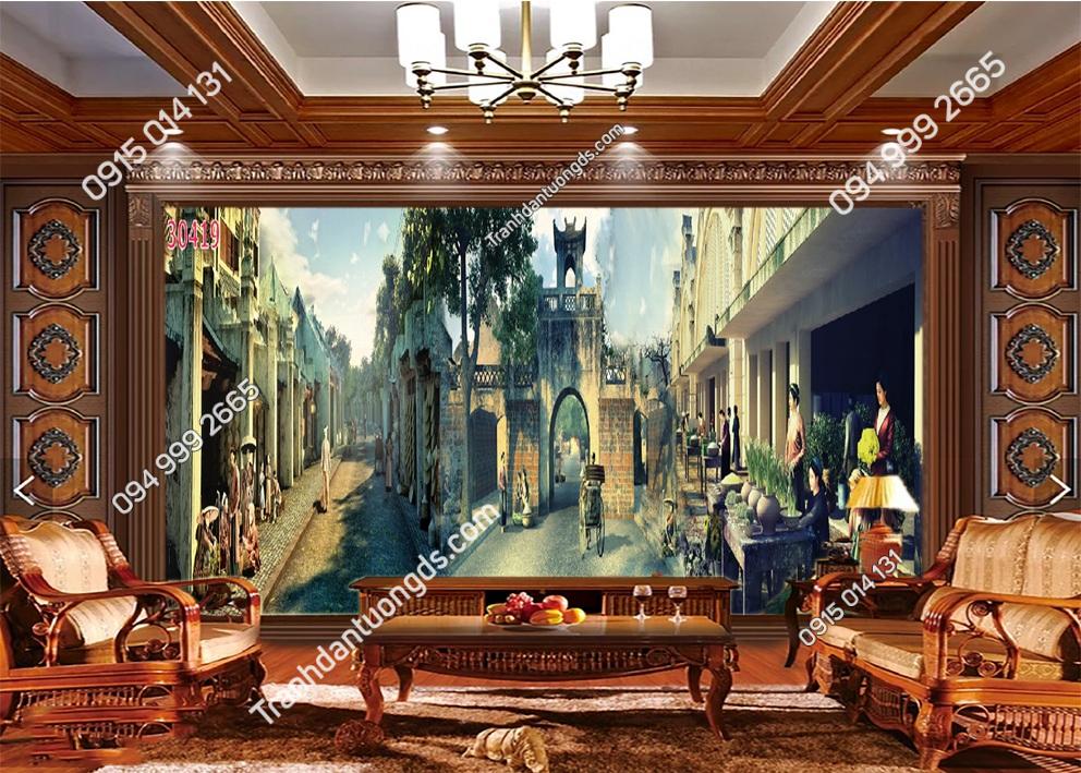 Tranh dán tường phố cổ Hà Nội xưa 30419