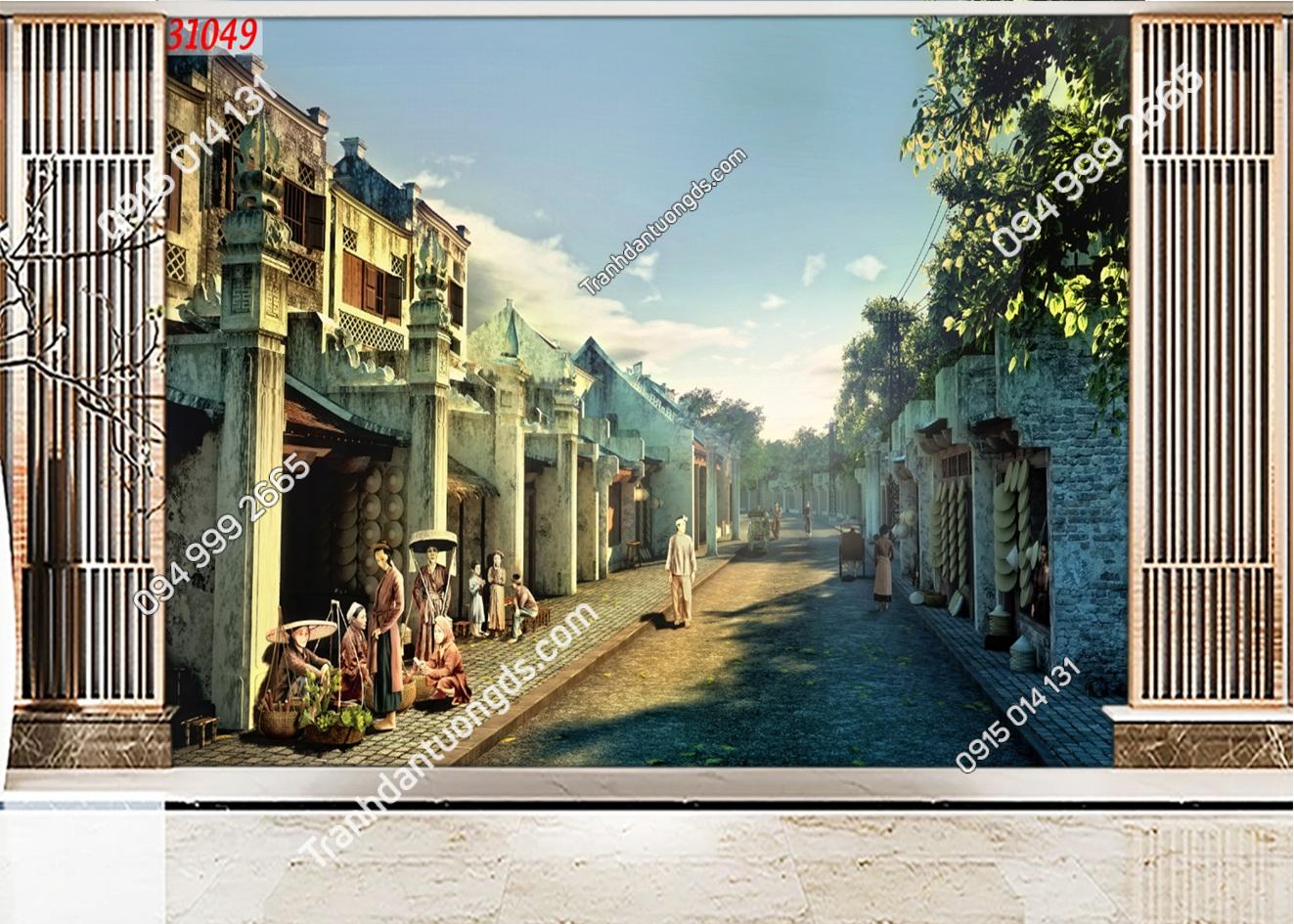 Tranh dán tường phố cổ Hà Nội xưa 31049