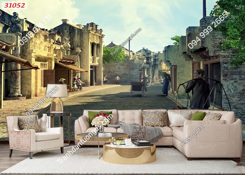 Tranh dán tường phố cổ Hà Nội xưa 31052