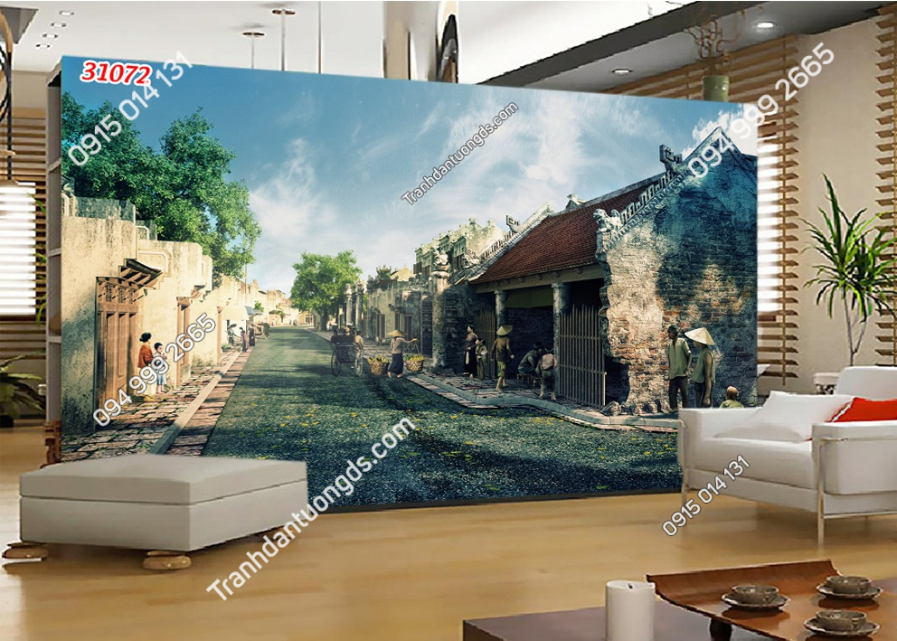 Tranh dán tường phố cổ Hà Nội xưa 31072