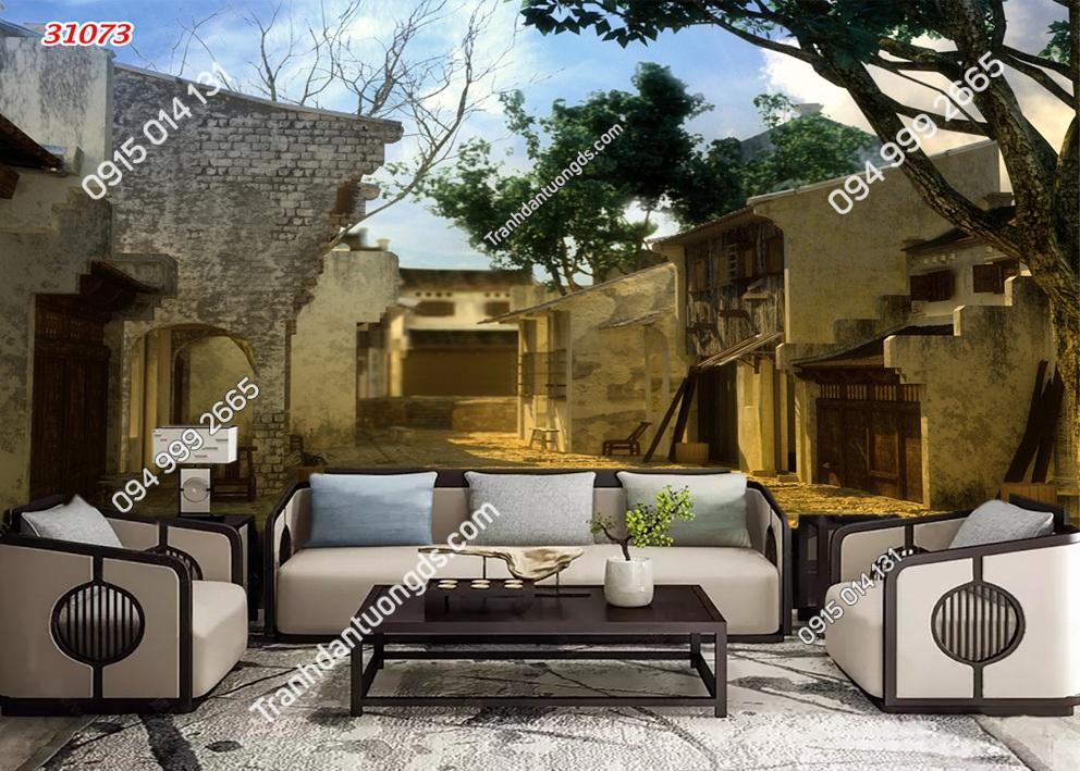 Tranh dán tường phố cổ Hà Nội xưa 31073