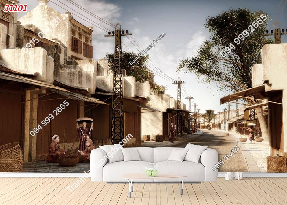 Tranh dán tường phố cổ Hà Nội xưa 31101