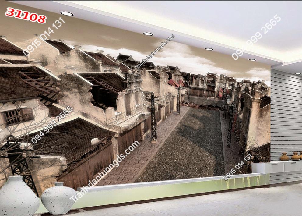 Tranh dán tường phố cổ Hà Nội xưa 31108
