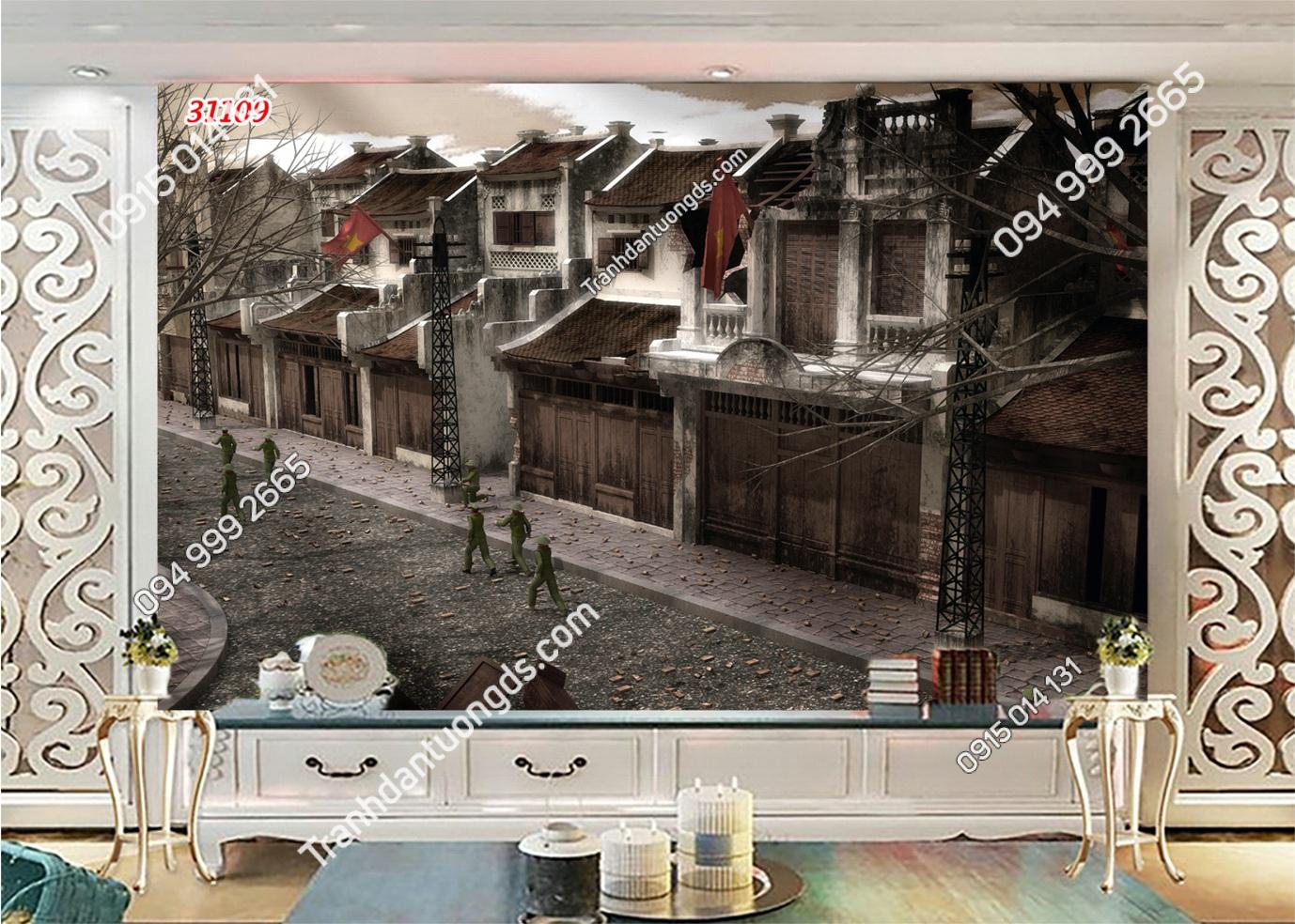 Tranh dán tường phố cổ Hà Nội xưa 31109